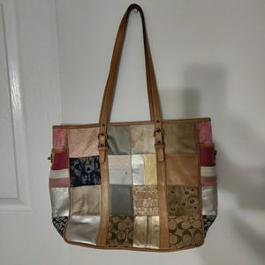 Vintage Coach Patchwork Tote Bag Purse